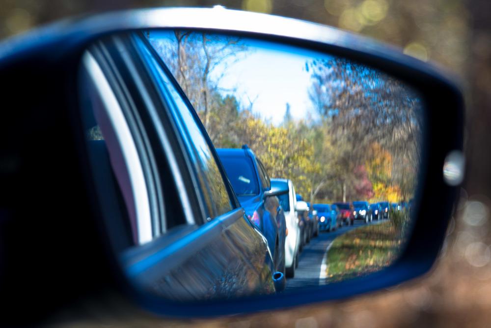 Queue behind us to enter Shenandoah National Park on a November weekend.