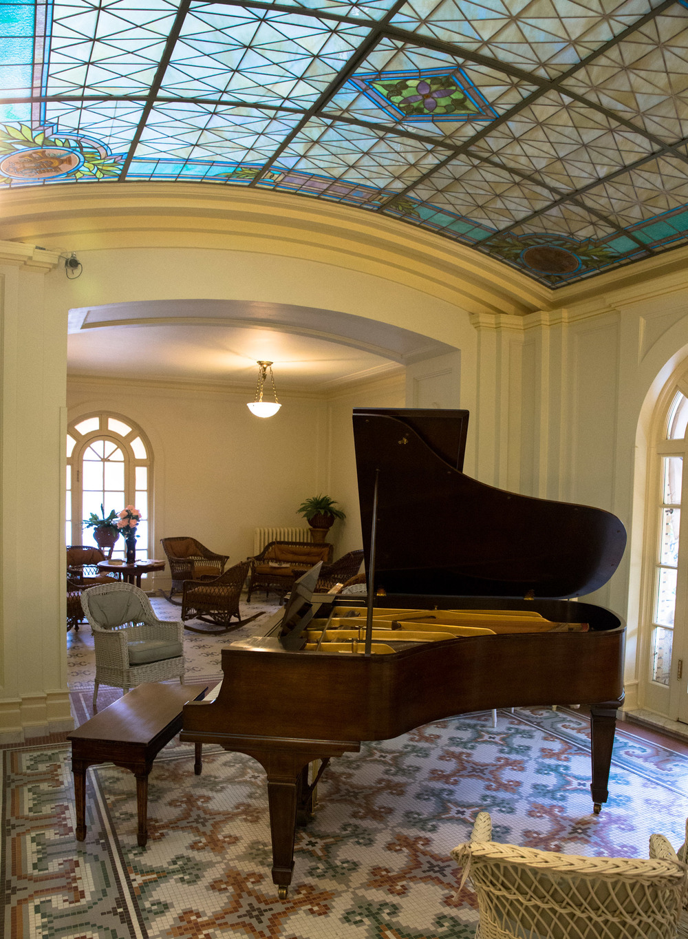 After a hard day at the Spa clients could unwind by reading a book or singing around the piano.