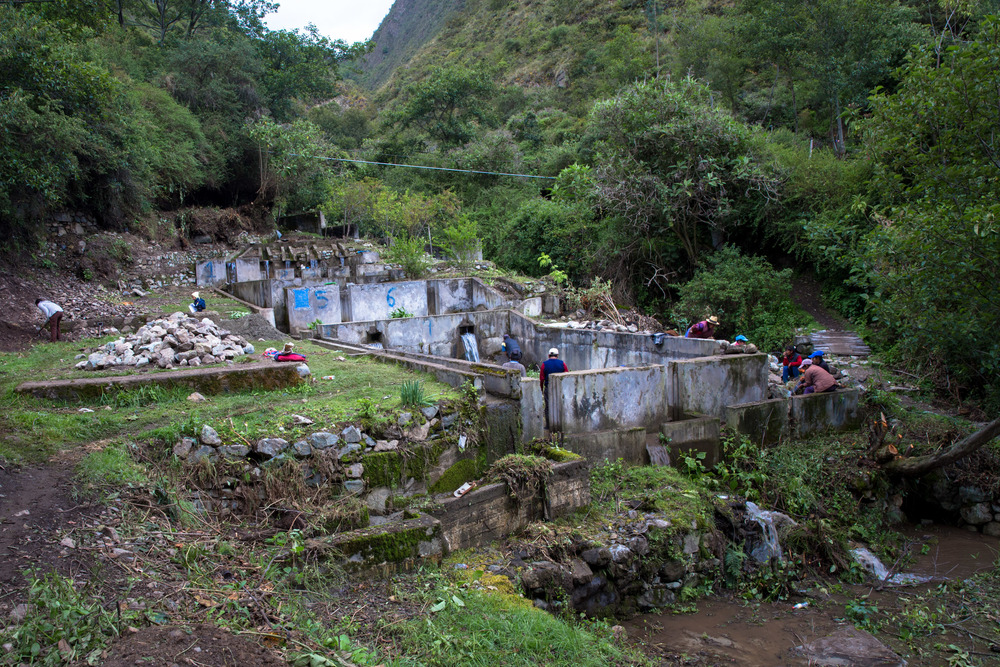 A communal fish farm providing subsistence living to the villagers along the Inca Trail.