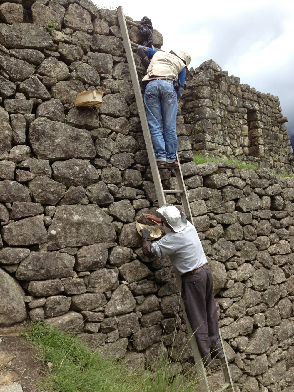 A rock polisher at Machu Picchu