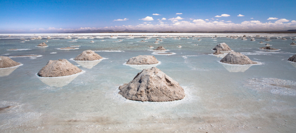 The salt mines of Salar de Uyuni, the salt is collected into pyramids to dry over 2 weeks before being exported.