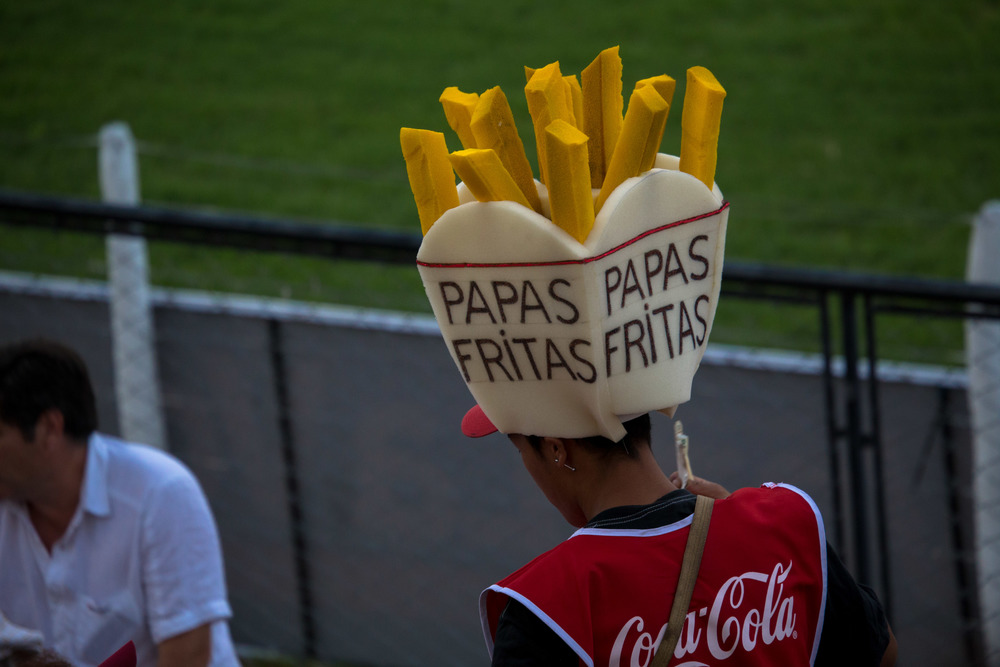 Shannan loved the papas fritas sellers. A hat that works in any language.
