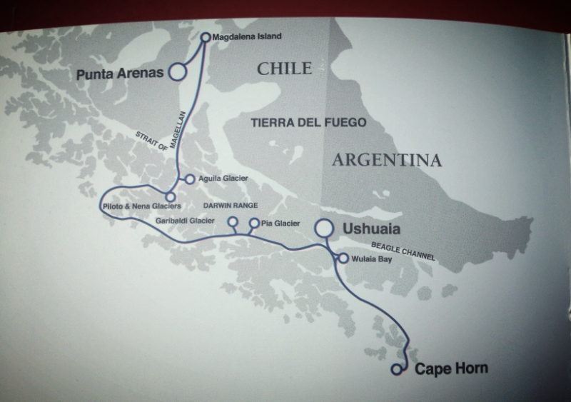 4 nights on a leisurely route from Ushuaia to Punta Arenas.