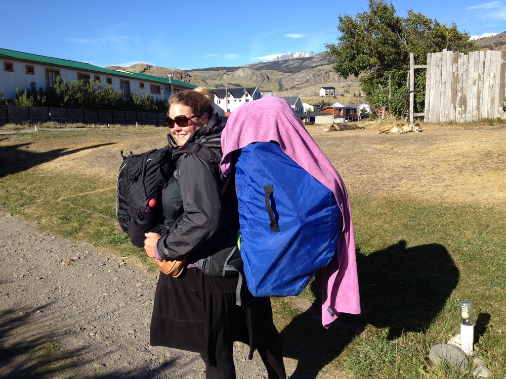 Luckily not our hiking load, this is what we lug to the bus ports and air ports each time we move. Shan is looking particularly stylish today with her cape.