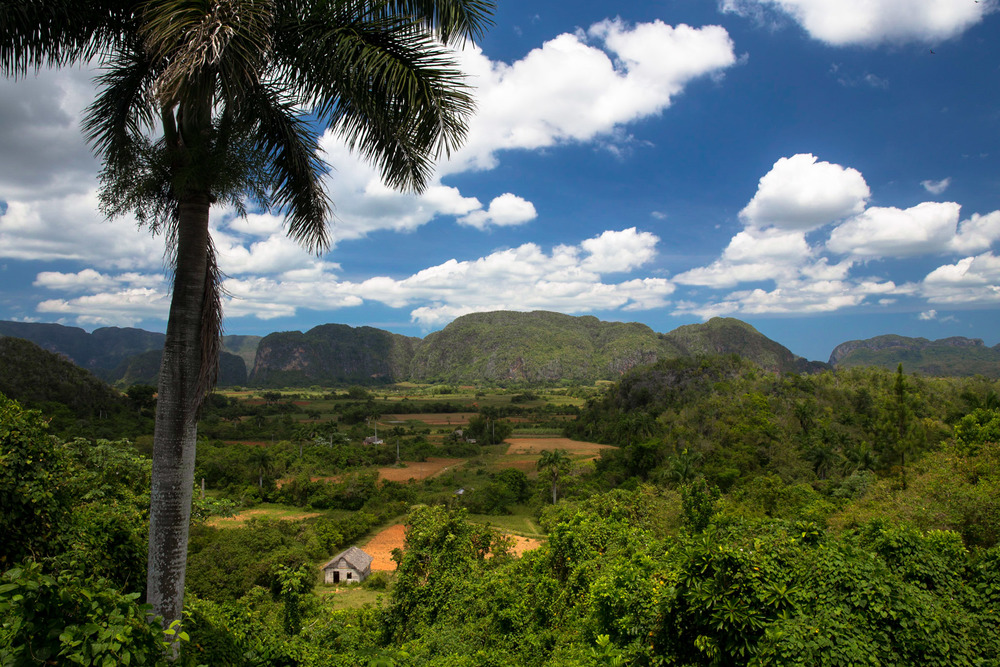 Vinales valley, mogotes visible in the distance