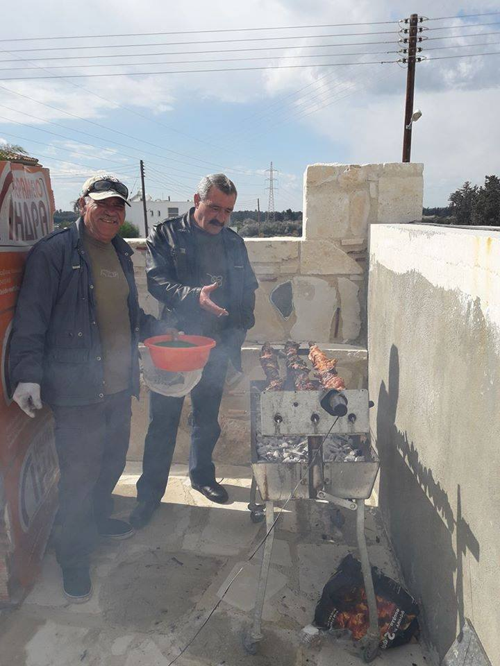Enjoying tradition dishes as souvla (large pieces of meat cooked on a long skewer over a charcoal barbecue) is part of the efforts of PSEMA team keeping local tradition alive!