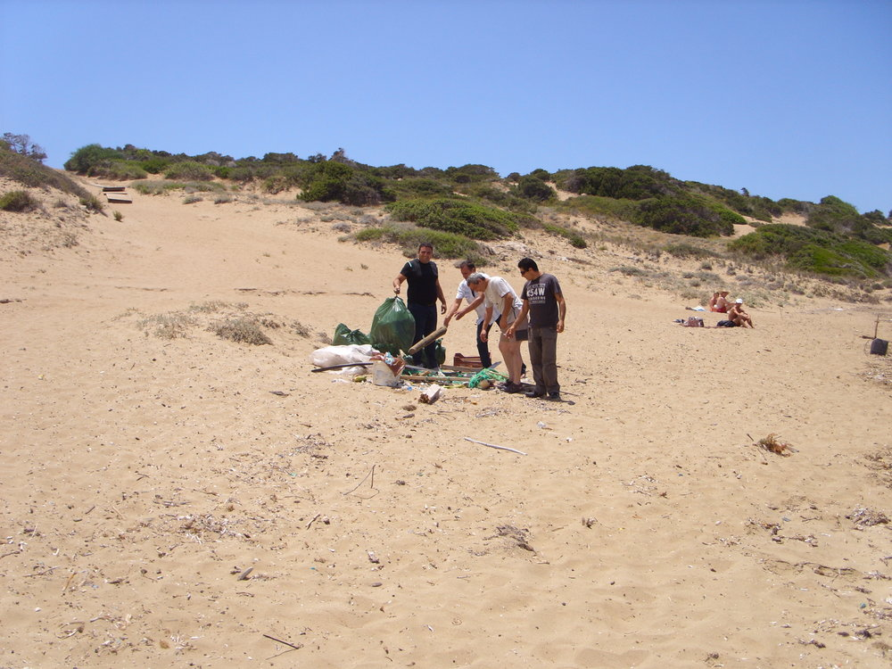 PSEMA team is collecting rubbish from Lara beach in Akamas peninsula. Ecological and environmental awareness is one of the life values we promote to our members.
