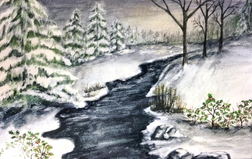 This original artwork by Newton artist Paulette Moss gives us pause as we consider the miracle that occurred on the Silent Night. The snowy scene draws us along the wandering brook toward a Great Light!