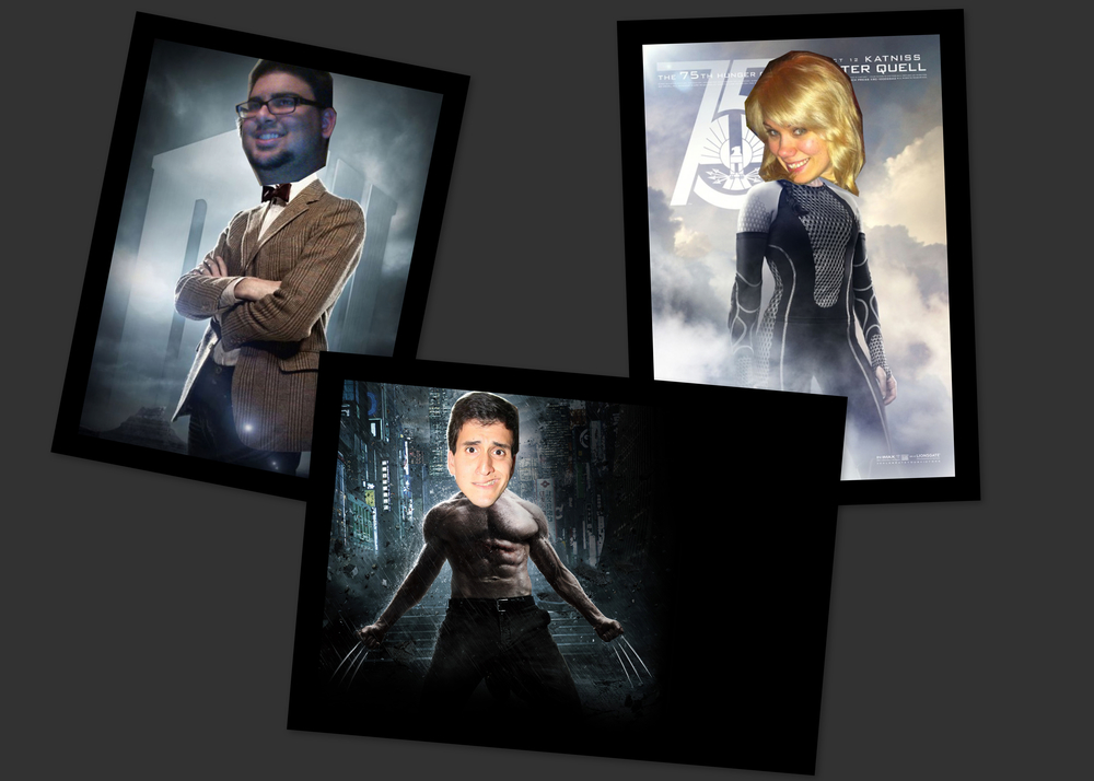 Rahul on left as the Doctor, Amanda on right as Katniss Everdeen, and Jonathan on bottom as Wolverine
