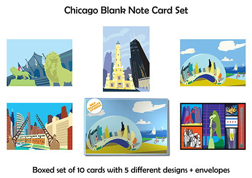 CHICAGO - SET OF 10 NOTECARDS