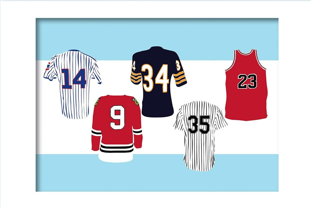 CHICAGO JERSEYS 16 x 20 Print