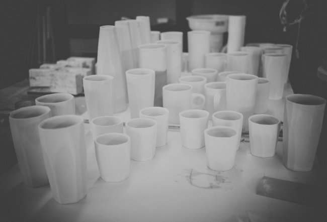 wares being prepped for glazing in our studio, 2015                                                                                    Photo credit :Innersong Photography