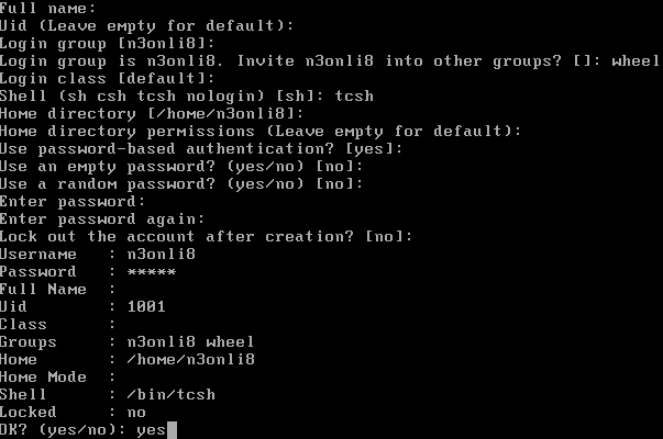 FreeBSD Account Setup