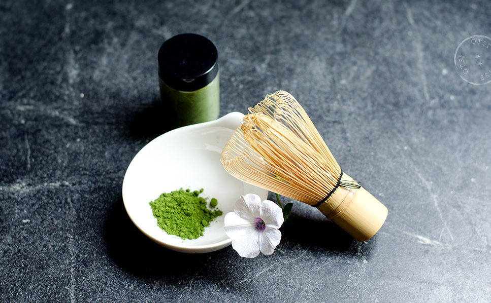 Matcha powder & chasen (bamboo whisk) - via Mu-Hsien