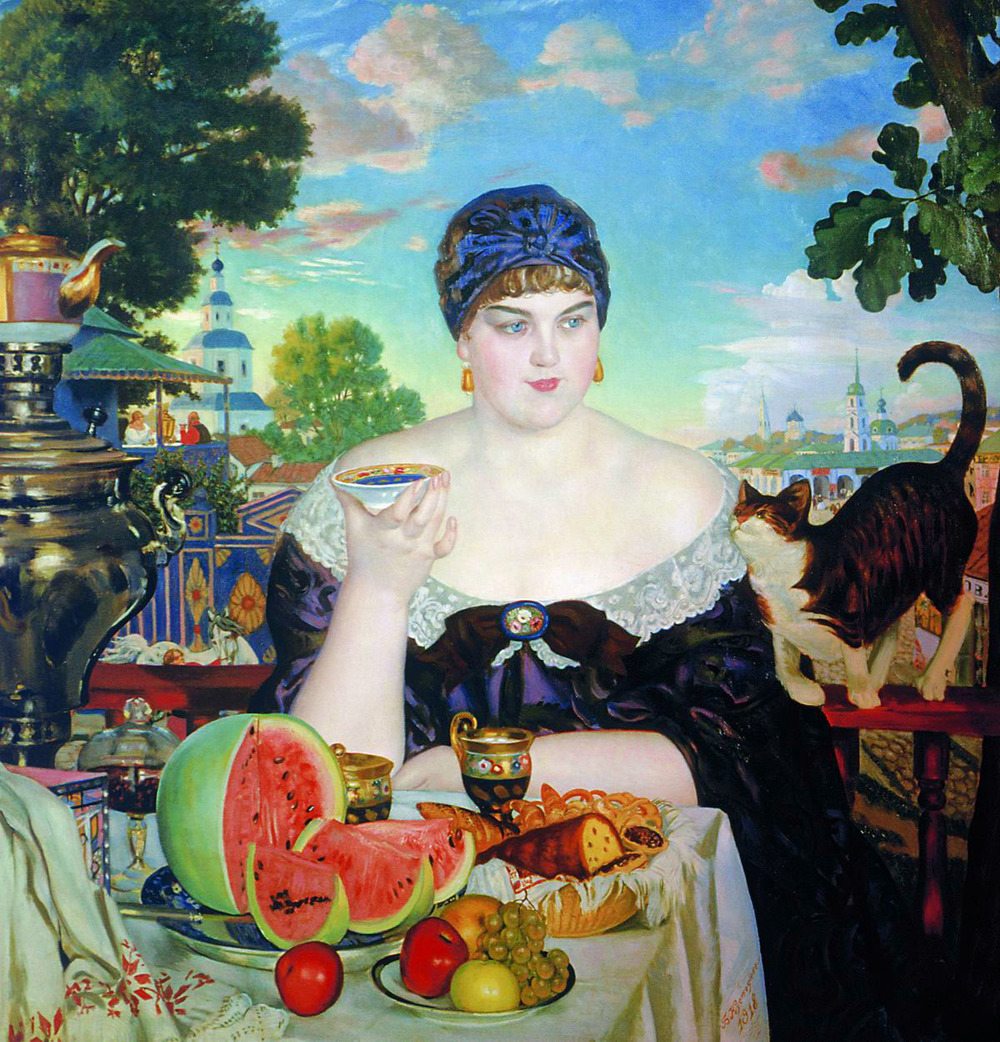 """Merchant's Wife at Tea""  by  Boris Kustodiev .  She is feasting on the exotic fruits and wares her husband just brought back from his travels. Among them tea, which came to Russia with the merchants from far away China. Additional factoid, in the late 1800's the plumper the woman was the more beautiful she was considered. Plumpness was also a sign of good health and riches . (Oh to have those times back!)"