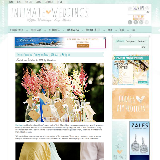 Oct 2013  |    Intimateweddings.com   Featured Mu-Hsien's wedding ceremony & bouquet ideas