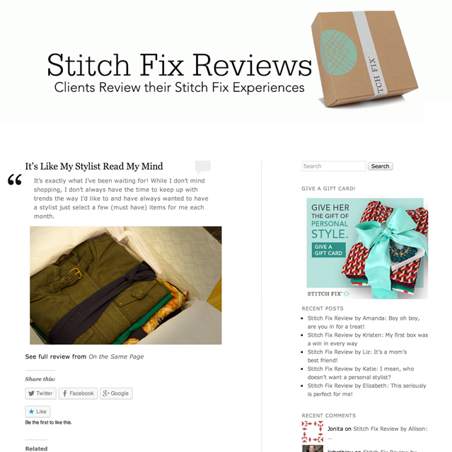 Dec 2013 | Stitchfix.com Mu-Hsien's review of Stitch Fix, a novel way for a stylist to shop for you.