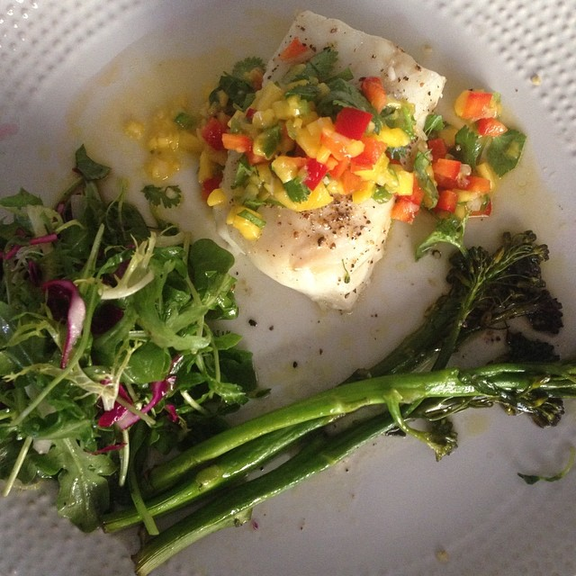 Mango Salsa Cod, Rocket Apple Vinegar Salad, Roasted Broccolini, & Thyme Potatoes (hiding in the oven)