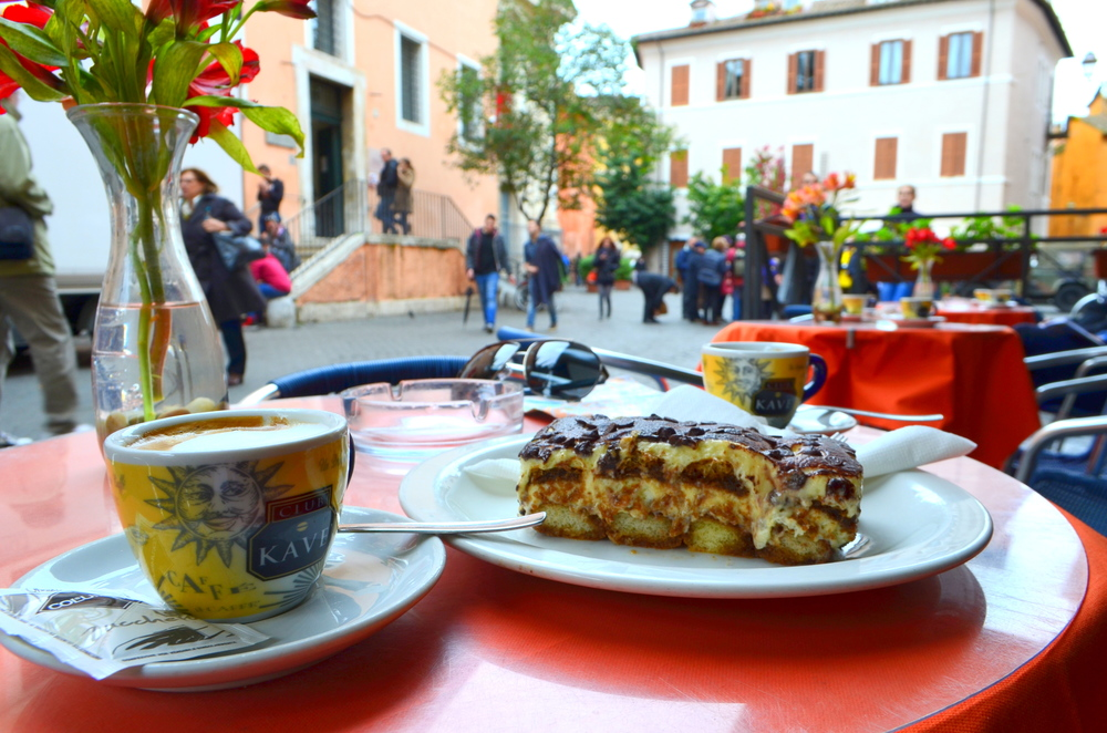 Mid-afternoon espresso and tiramisu in Trastevere, Rome