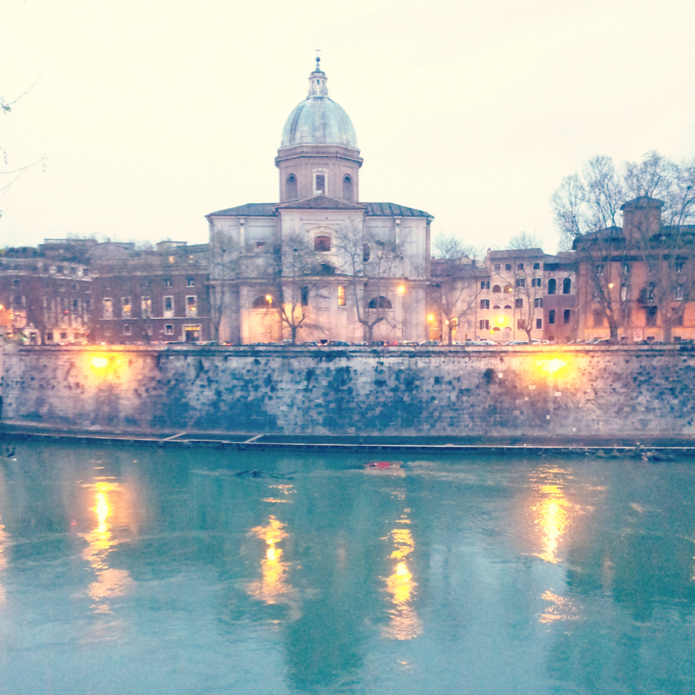 Reflecting lights in the Tiber river, Rome (More pics from my birthday getaway.)