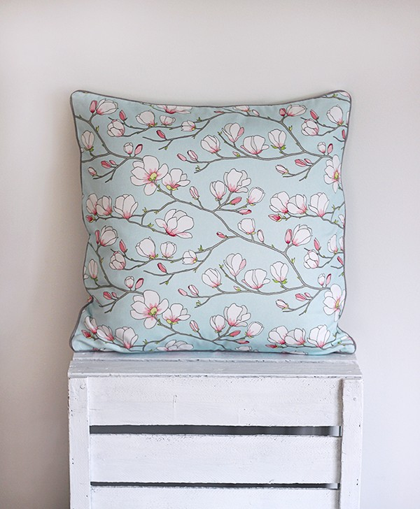 Blue Magnolia Cushion Cover