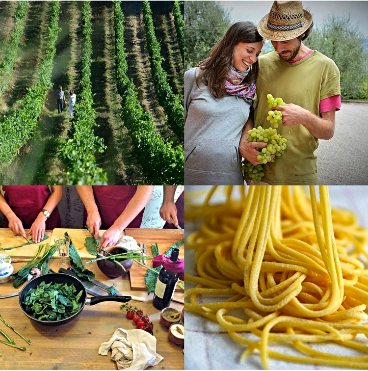 homemade pasta, wine tours, slow food cooking lessons