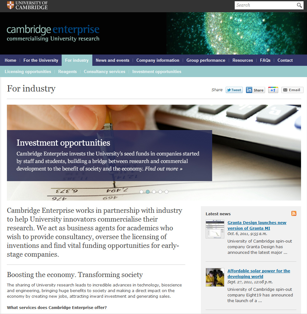 Copywriting for Cambridge Enterprise