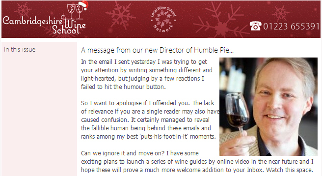 Apology email from Cambridge Wine School