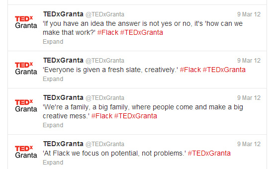 LIve tweeting for TEDxGranta