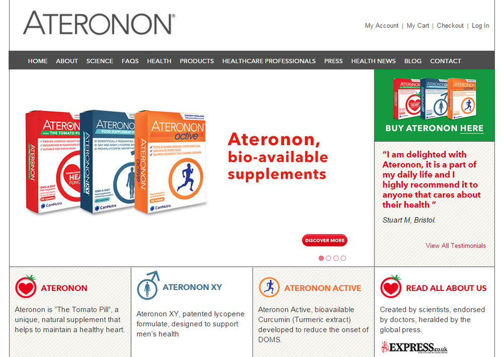 Web and social media content for Ateronon
