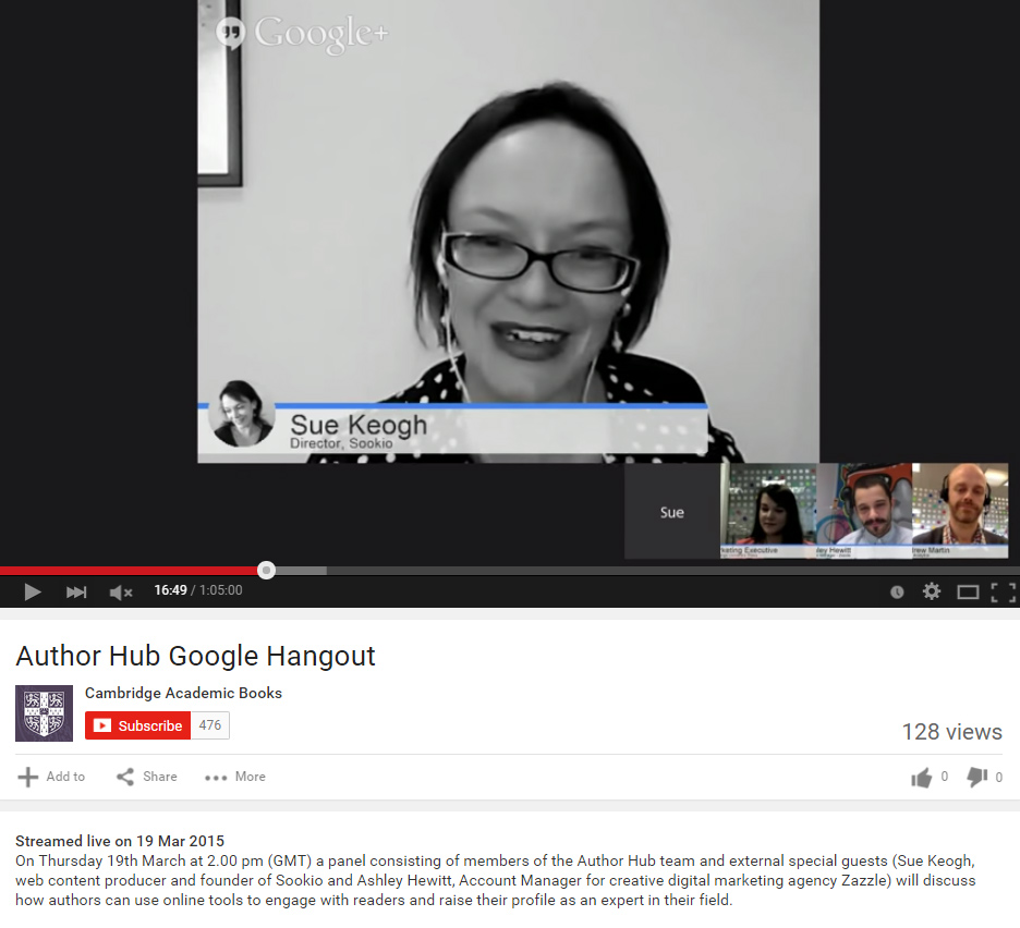 Google+ hangout with Cambridge University Press