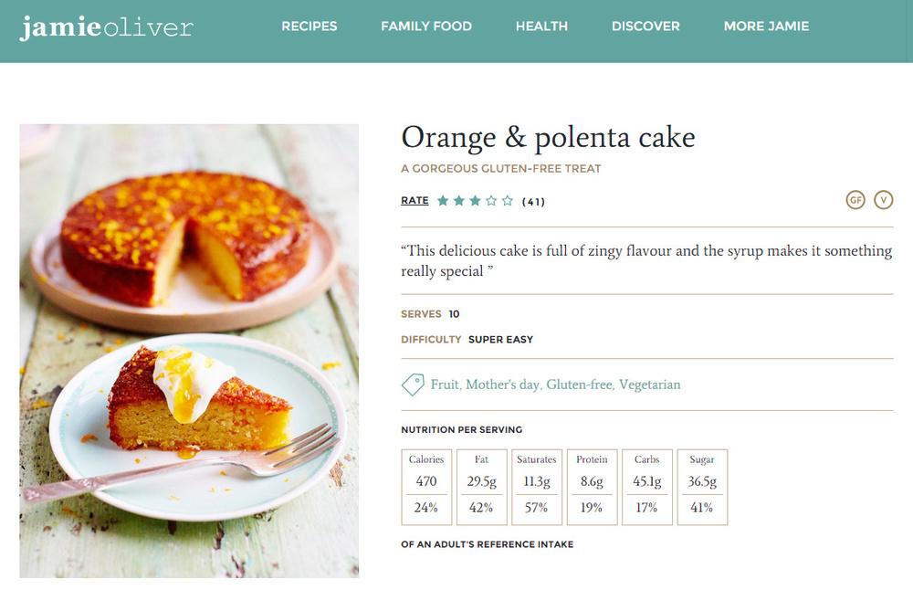Jamie Oliver orange polenta cake