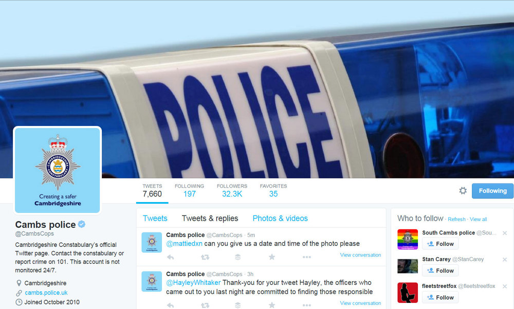 Cambridgeshire Constabulary on Twitter @cambscops