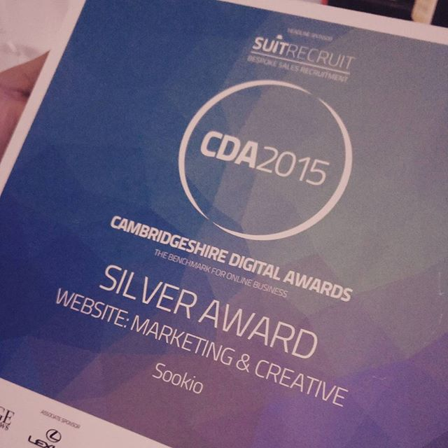 Silver award for Website: Marketing and Creative, Cambridgeshire Digital Awards 2015