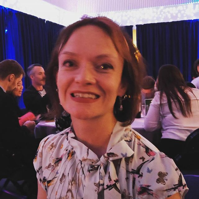Director Sue Keogh celebrating at the Cambridgeshire Digital Awards 2015