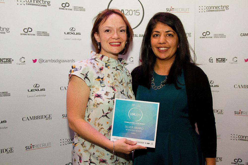 Sue and Deepa at the Cambridgeshire Digital Awards