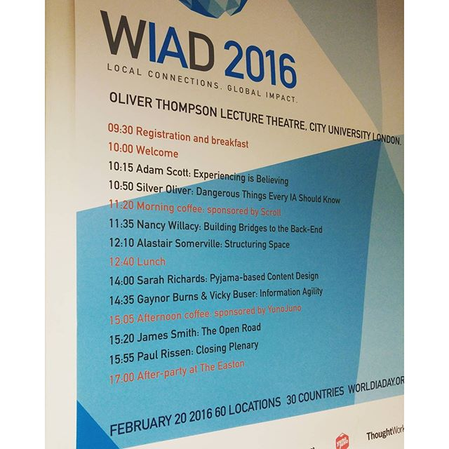 Running order for #WIADayLDN16