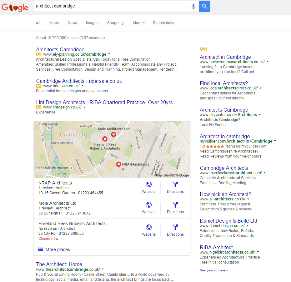 image of the Google results page