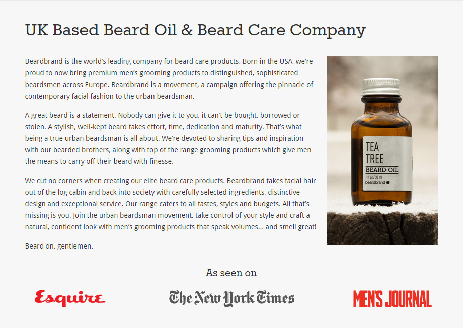 Website copywriting for Beardbrand