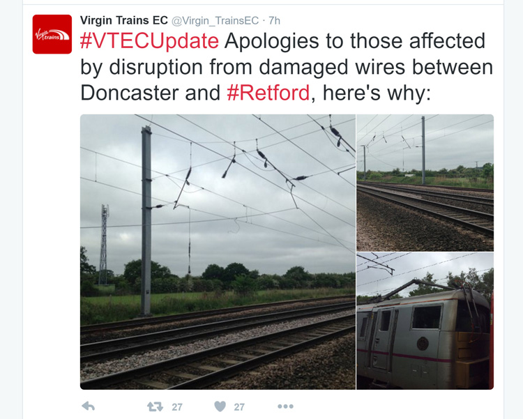 Virgin East Coast Trains Twitter