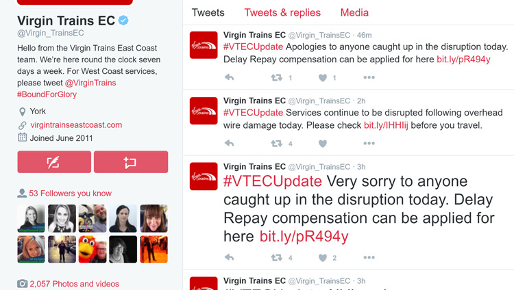 Virgin East Coast Trains social media
