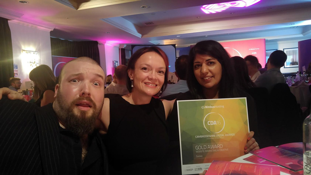 Sookio win gold at Cambridgeshire Digital Awards 2016
