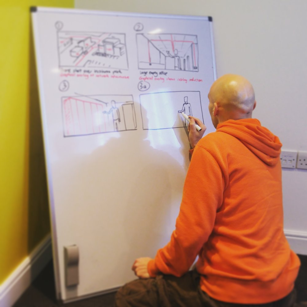 Alex, our animator, creates a storyboard to bring a video concept to life