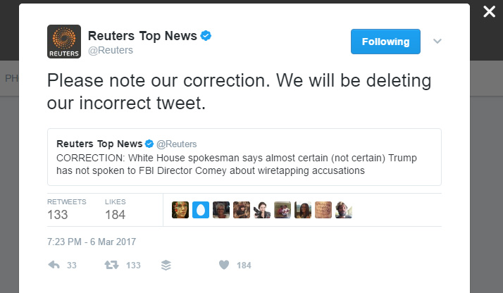 Reuters correction