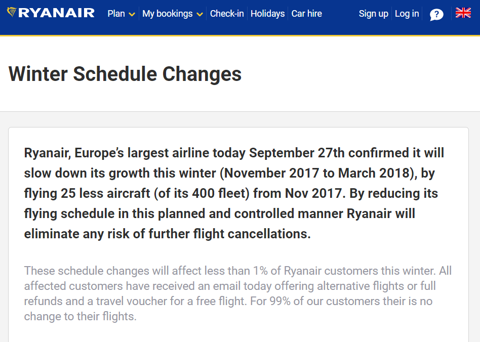 Ryanair Winter Schedule changes