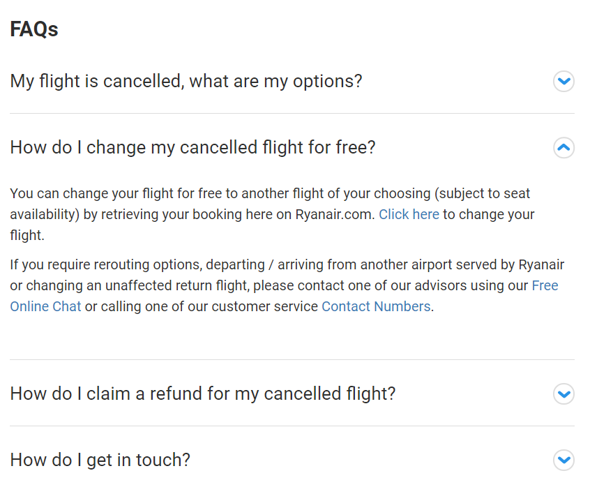 Ryanair flight cancellations FAQs