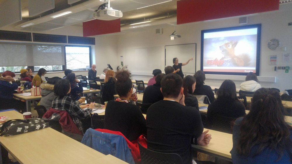 Talking to students at Anglia Ruskin University. Photo credit: Satvinder Sehmbey