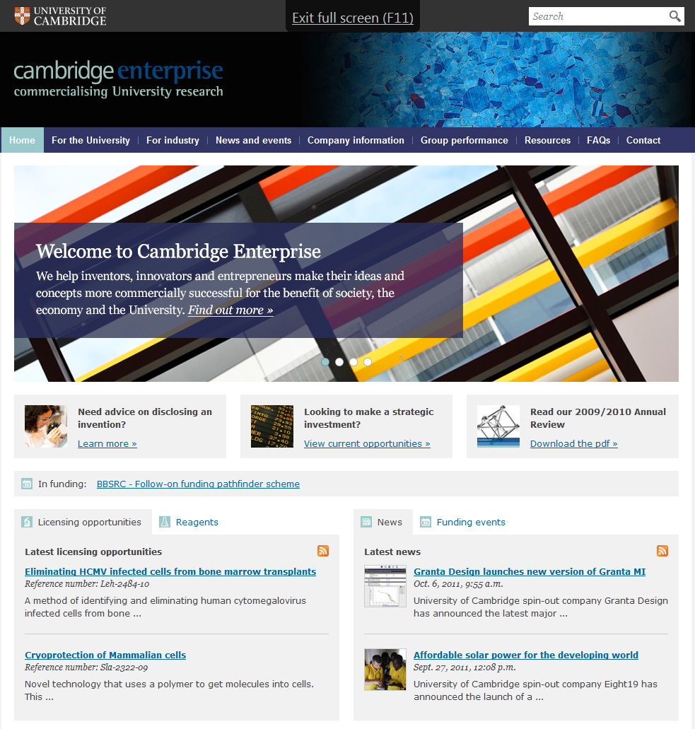 Copywriting for Cambridge Enterprise