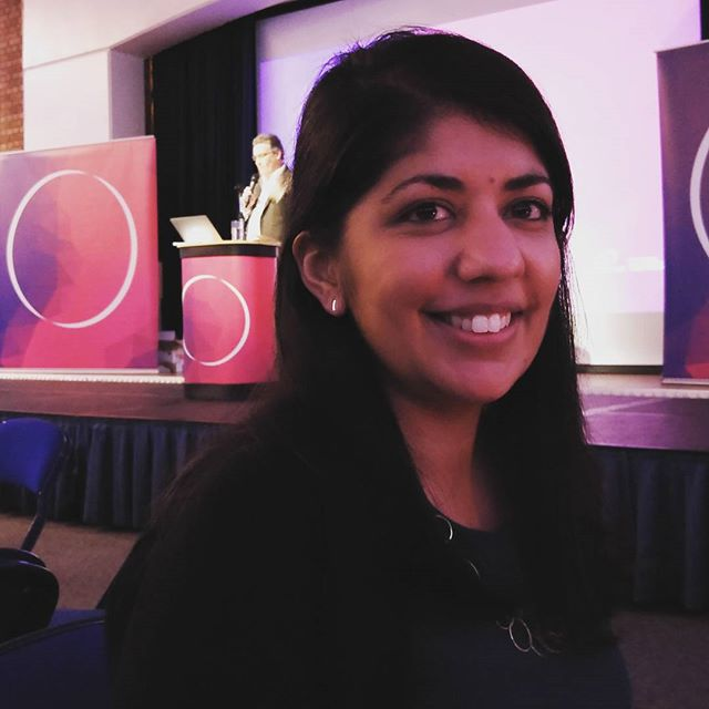 Web and social media editor Deepa Mistry celebrating at the Cambridgeshire Digital Awards 2015