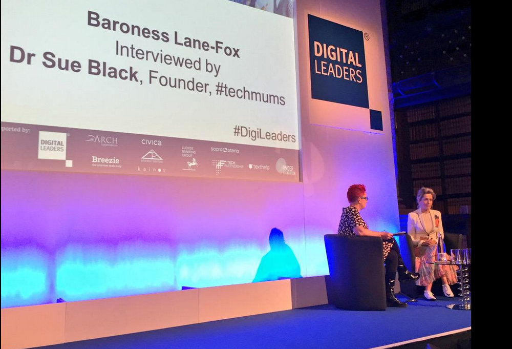 Dr Sue Black interviewing Baroness Martha Lane-Fox, photo credit digital leaders